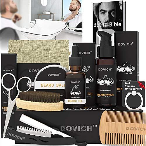 12 In 1 Beard Kit for Men, Beard Growth Kit, Beard Grooming Oil Leave-in Conditioner, Beard Apron Bib, Beard Razor, Beard Shampoo, Beard Balm, Beard Brush