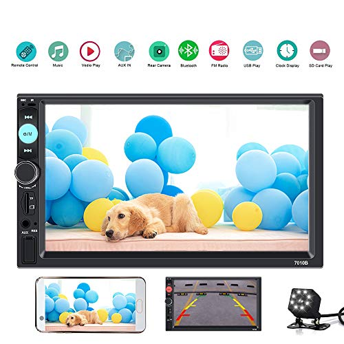 KKLUSB 7 inch Double Din Touch Screen Car Stereo Upgrade The Latest Version MP5/4/3 Player FM Radio Video Support Backup Rear-View Camera Mirror Link
