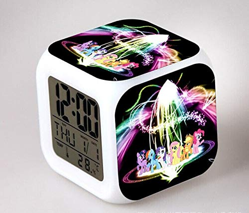 N/J Birthday Presents for The Children's Bedroom My Little Pony Night Light LED 7 Color Flash Changing Digital Alarm Clocks Bedroom Wake Up Clock Rainbow Dash,Chocolate