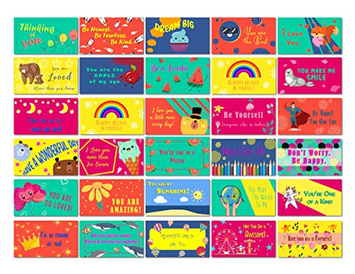 Lunch Box Notes for Kids 60 Pack-Motivational Inspirational 30 Original Unique Designs with Love and Fun for Your Kids' Lunch boxes