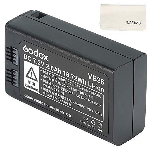 Godox VB26 Battery Replacement 2600mAh - DC 7.2V Lithium Battery Pack for Godox V1S V1C V1N V1F V1O V1P Round Head Flash Speedlite