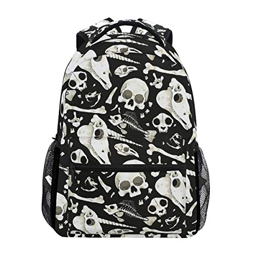 Lightweight Backpack with Skulls Bones Halloween Goth Print, College Bag Casual Daypack for Travel School