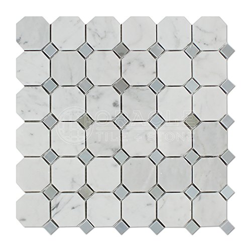 Carrara White Italian (Bianco Carrara) Marble Octagon Mosaic Tile with Blue & Gray Marble Dots, Honed