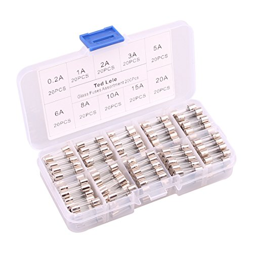 200pcs Quick Blow Glass Tube Fuse Assorted Kit Amp 250V 0.2A, 1A, 2A, 3A, 5A, 6A, 8A, 10A ,15A,20A 5x20mm Ted Lele (5x20mm)