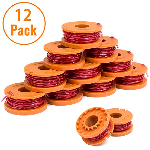 X Home 12-Pack Durable WA0010 Pre-Wound Weed Eater String Set Compatible with Worx WG163, WG180 Trimmers, Easy to Install