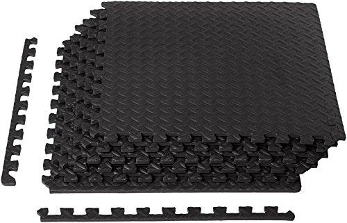Amazon Basics Foam Interlocking Exercise Gym Floor Mat Tiles - Pack of 6, 24 x 24 x .5 Inches, Black