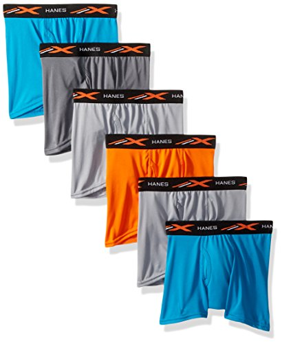 Hanes Boys' X-Temp Performance Cool Dyed Boxer Brief 6-Pack, Assorted, Small