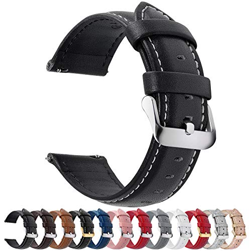 12 Colors for Quick Release Leather Watch Band, Fullmosa Axus Genuine Leather Watch Strap 16mm Black