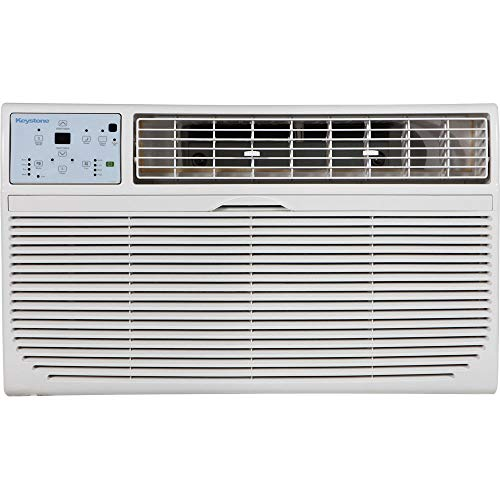 Keystone 14,000 BTU 230V Through-The-Wall Air Conditioner | 10,600 BTU Supplemental Heating | LCD Remote Control | Sleep Mode | 24H Timer | AC for Rooms up to 700 Sq. Ft. | KSTAT14-2HC