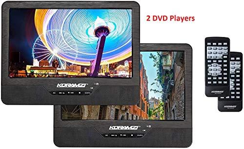 Koramzi DVD-2DVDK9 Portable 9' Dual Screen Dual DVD Player W Rechargeable Battery/AC Adapter/AV in/USB &SD Card Reader/Remote Control/Car Adapter/IR Transmitter Ready/USB/Headrest Mounting Kit