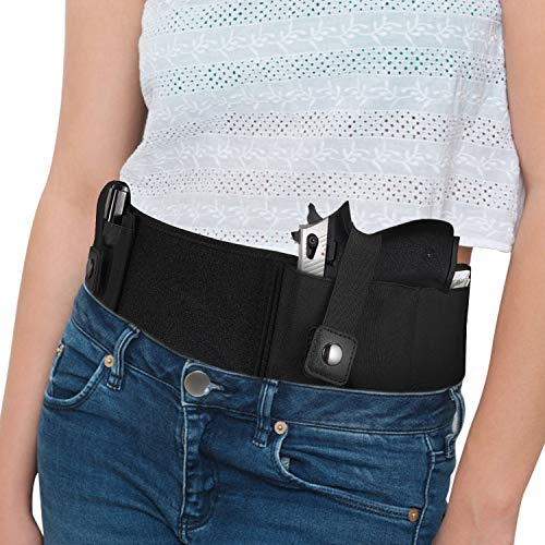 Vemingo Upgraded Belly Band Holster for Conceal Carry - Breathable Neoprene Waistband Holster for Women and Men Left Hand - Fits Gun Glock 17, 19, 43, Ruger LCP, Sig Sauer 380, Springfield, Taurus G2C
