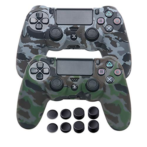 PS4 Controller Covers - Silicone Skin for DualShock 4 - Water Printed Protector Case Set for Sony PS4, PS4 Slim, PS4 Pro - 2 Pack Camo PS4 Accessories- 4 Pairs PS4 Controller Grips - Gray & Green