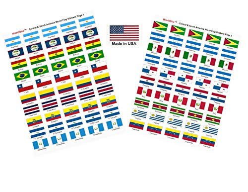 Made in USA! 100 Stickers Representing Central and South America; 1.5' x 1' Self Adhesive World Flag Stickers, Two Sheets of 50, 100 Central and South American Sticker Flags Total