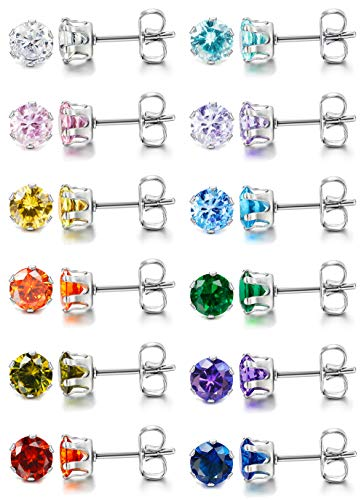 LOYALLOOK 12 Pairs Stainless Steel Brilliant Cut Round Cubic Zirconia Birthstone Stud Earrings for Women 5mm