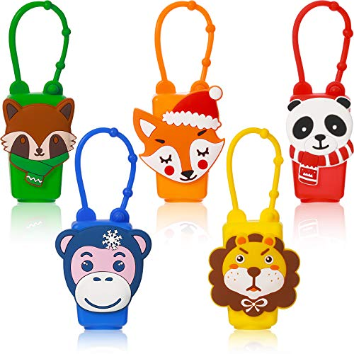 Valentines' Day 5 Pieces Kid Hand Sanitizer Holders Travel Bottles Silicone Sleeve Leak Proof Mini Portable Empty Holder Sleeves for 30 ml/ 1 oz Bottle Case