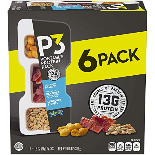 P3 With Honey Roasted Peanuts, Maple Glazed Ham Jerky & Sunflower Kernels Portable Protein Pack (1.8 oz Trays, Pack of 6) - Satisfying Snack, Work Snack, Active Lifestyle Snack and On-the-Go Snack