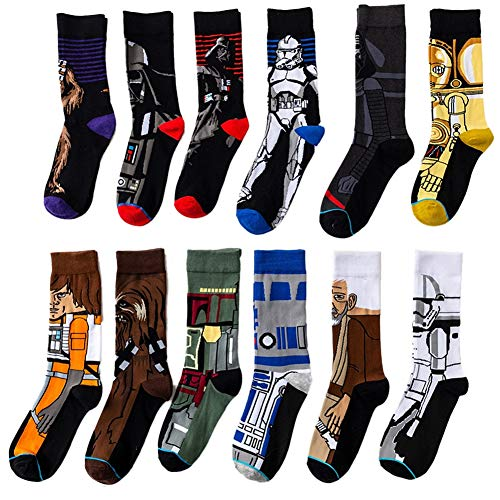 ASWER Men's 12 Pairs Star Wars Sport Cotton Socks Athletic Casual Crew Socks Color#14