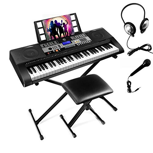 Mustar 61 Touch Sensitive Keys Portable Electronic Keyboard Piano For Beginner, Music Keyboard kit with Headphones, Microphone, Piano Stand and Stool,Full Size Keys/LCD Screen for Kids,Adults.