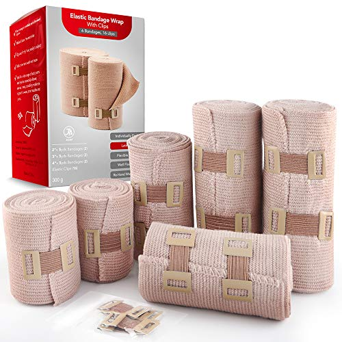 Elastic Bandage Wrap, 6 Pack + 16 Clips, Latex-Free Durable Flexible Medical Compression Bandages (2X-2 Inch, 2X-3 Inch, 2X-4 Inch, 5 Feet Wide of Each Rolls), Beige