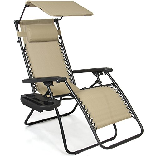 Best Choice Products Folding Steel Mesh Zero Gravity Recliner Lounge Chair w/Adjustable Canopy Shade and Cup Holder Accessory Tray, Beige