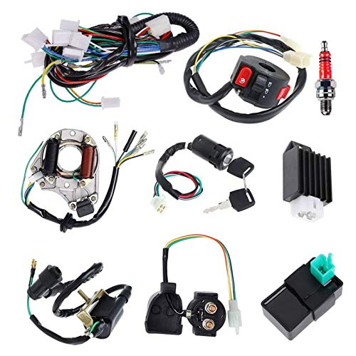Complete Electrics Stator Coil CDI Wiring Harness Solenoid Relay Spark Plug for 4 Stroke ATV 50cc 70cc 110cc 125cc Pit Quad Dirt Bike Go Kart Scooter Moped Parts Complete Wiring Harness by TOPEMAI
