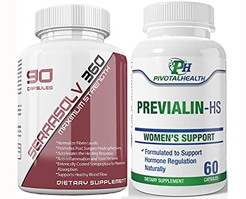 Extra Strength Uterine Fibroid Package - Dissolve Uterine Fibroids Quickly (Serrasolv 360 90 Cap & Previalin 60 Cap) Also Helps with Bloating, Discomfort and Balancing Hormones- Safe and Affordable