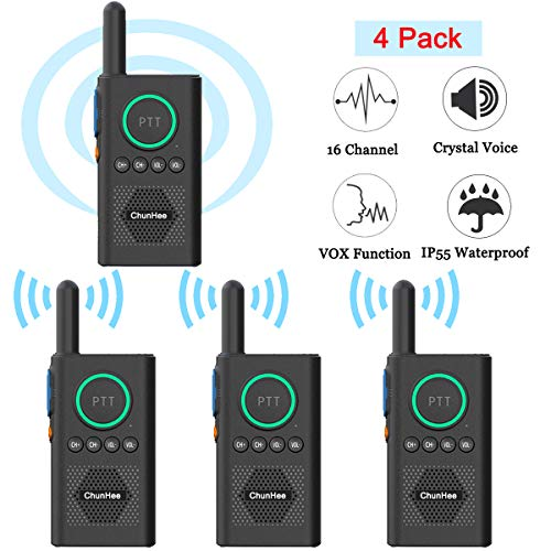 Chunhee Wireless Intercom System for Elderly/Kids, Home Intercom System Room to Room Communication, 1.5 Miles Long Range 16 Channel Intercom System for Home/Office/Camping/Hiking/Vacation(4 Pack)