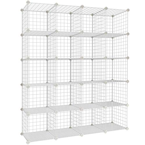 SONGMICS Wire Cube Storage, 20-Cube Modular Rack, Storage Shelves, PP Plastic Shelf Liners Included, 48.4' L x 12.2' W x 60.2' H White ULPI45W