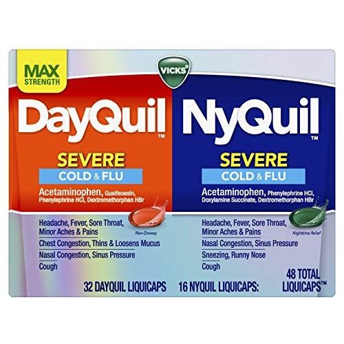 Vicks DayQuil and NyQuil SEVERE Cough, Cold and Flu Relief, 48 LiquiCaps (32 DayQuil and 16 NyQuil) - Sore Throat, Fever, and Congestion Relief, Day or Night (Packaging May Vary)