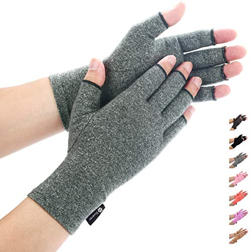 Duerer Arthritis Compression Gloves Women Men for RSI, Carpal Tunnel, Rheumatiod, Tendonitis, Fingerless Gloves for Computer Typing and Dailywork (Gray, L)