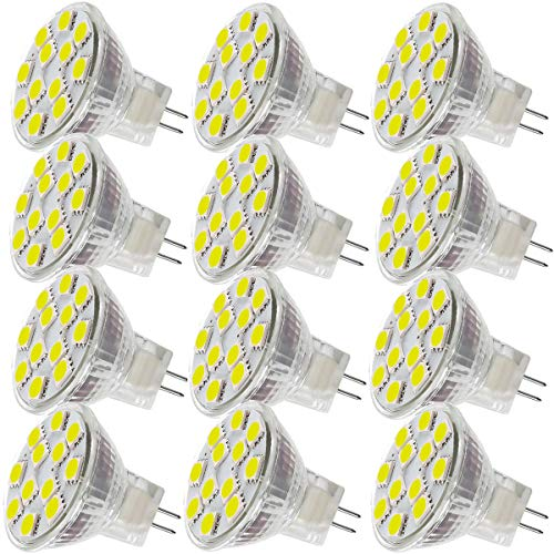 2.4W LED MR11 Light Bulbs, 12v 20w Halogen Replacement, GU4 Bi-Pin Base, Daylight White 4000K, Non-Dimmable, (Pack of 12)
