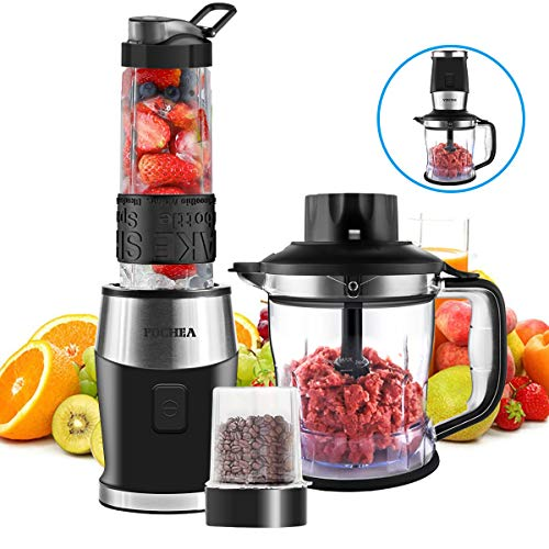 Smoothie Shake Blender, Fochea 3 In 1 Food Processor Multi-Function Kitchen Mixer System, 700W High-Speed Blender/Chopper/Grinder with Portable 570ml BPA-Free Bottle, Easy to Clean