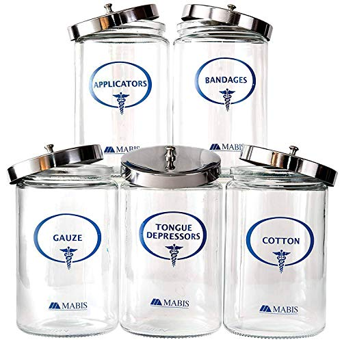 MABIS Glass Apothecary Jars, Sundry Jars with Imprints, Easy Pop Off Lids, Clear, Set of 5
