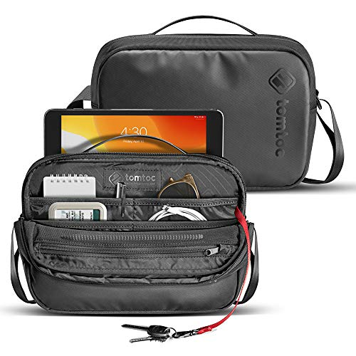 tomtoc Men's Shoulder Bag with Smart Organization for Electronic Accessories, Messenger Bag Fit 7.9 iPad Mini, Waterproof Crossbody Bag Travel Storage for Switch/iPhone/Cable/Power Bank