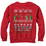 Nintendo Men's Mario and Bowser Ugly Christmas Sweater Red Sweatshirt