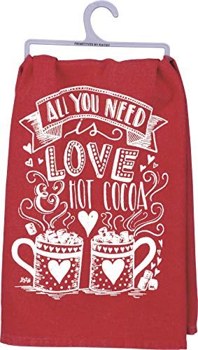 All You Need is Love & Hot Cocoa Towel - Kitchen Hand Towel - Cute Decoration for Winter & Christmas - Gift Idea