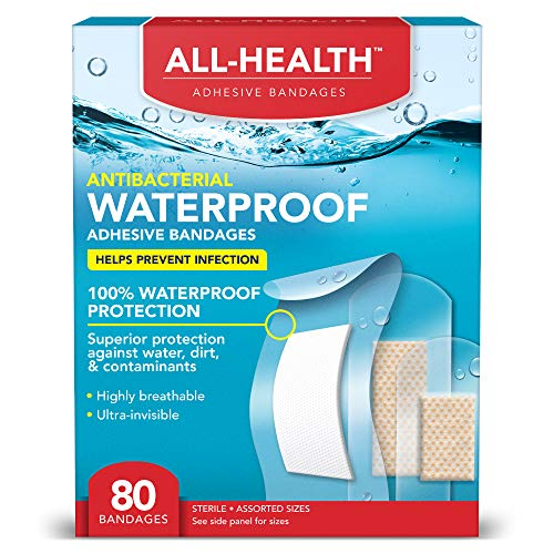 All Health Clear Waterproof Antibacterial Adhesive Bandages,Assorted Sizes Variety, 80 ct | Helps Prevent Infection, 100% Waterproof for First Aid and Wound Care