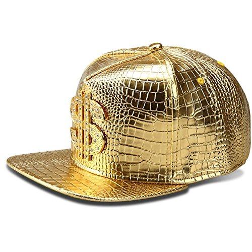 Hip Hop Hat,Flat-Brimmed Hat,Rock Cap,Adjustable Snapback Hat for Men and Women, Gold, One Size
