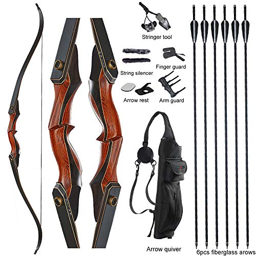TOPARCHERY Archery 60' Takedown Hunting Recurve Bow and Arrow Set for Adults Practice Competition Longbow Kit with 6pcs Fiberglass Arrows Right Hand Black