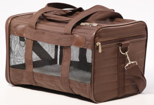 Sherpa Travel Original Deluxe Airline Approved Pet Carrier, Medium, Brown (Frustration Free Packaging), Original Brown (55238)