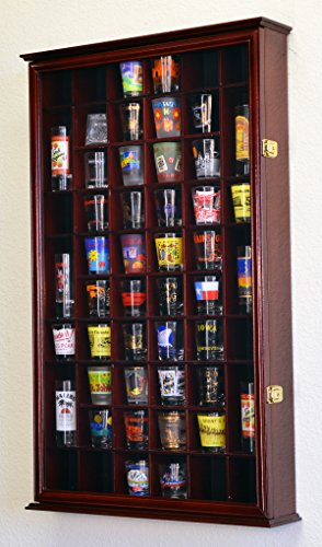 54 Shot Glass Shooter Display Case Holder Cabinet Wall Rack w/ UV Protection -Cherry