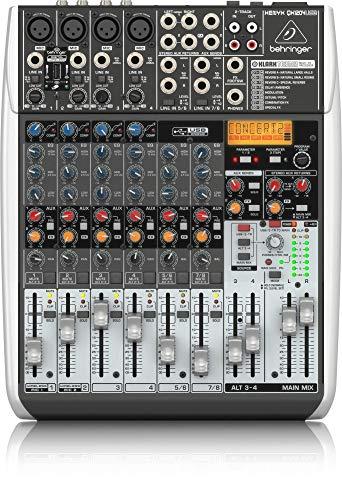 BEHRINGER, QX1204USB Premium 12-Input 2/2-Bus Mixer Xenyx Mic Preamps & Compressors Klark Teknik Multi-FX Processor Black