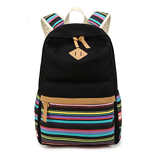 Swacort Women Casual Backpack Lightweight Canvas with Leather Daykpack School Bag Cute Printng Travel Bag Shoulder Bookbags Strip Black