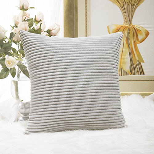 Home Brilliant Striped Velvet Cushion Cover for Chair Supersoft Handmade Decorative Pillowcase, Light Grey, 18'x18'(45cm)