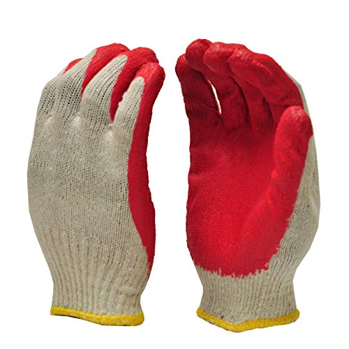G & F Products 3106-10 String Knit Palm, Latex Dipped Nitrile Coated Work Gloves For General Purpose, 10-Pairsper Pack, Red, Large