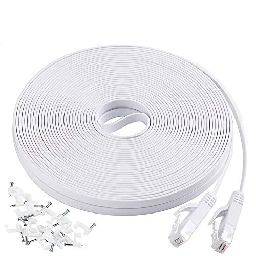 Cat6 Ethernet Cable 50 ft with Clips, Flat Long Internet Network LAN Patch Cord, Solid High Speed Computer Wire with Snagless RJ45 Connectors for PS4, PS5, Laptop, Router, Modem, Switch, White