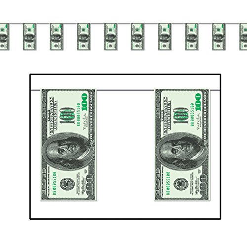 $100 Bill Pennant Banner Party Accessory (1 count) (1/Pkg)