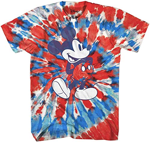 Mickey Mouse Classic Shmile Tie Dye Vintage Disneyland World Mens Adult Graphic Tee T-Shirt Apparel (Red Blue Tie Dye, Medium)