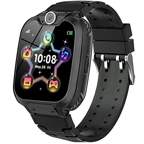 Kids Smart Watch for Boys Girls - Kids Games Smartwatches with Calls Camera Video Music Player Clock Calculator Watch Kid Electronic Learning Wristwatches for Children 4-12 y.o(Black)