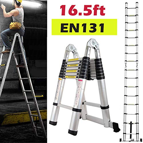 Bowoshen 16.5FT Aluminum Telescoping Extension Ladder 330lbs Max Capacity A-Frame Lightweight Portable Multi-Purpose Folding with Support Bar Anti-Slip EN131 Certificated